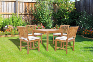 "5 Piece Teak Wood Florence Bistro Dining Set with 35"" Square Table and 4 Side Chairs - La Place USA Furniture Outlet"