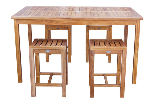 5 Piece Teak Wood Antigua Patio Counter Height Bistro Set with 63