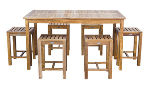 "7 Piece Teak Wood Antigua Patio Counter Height Bistro Set with 63"" Rectangular Table and 6 Stools - La Place USA Furniture Outlet"