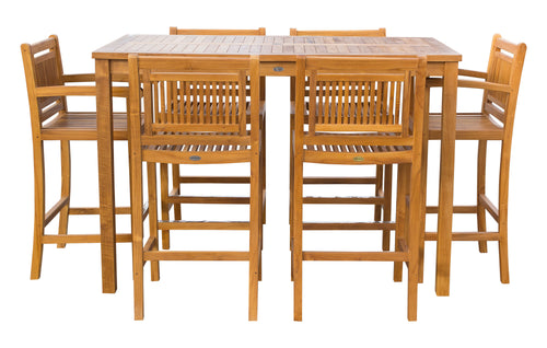 7 Piece Teak Wood Maldives Patio Bistro Bar Set, 63