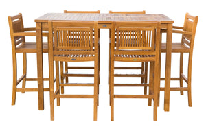 "7 Piece Teak Wood Maldives Patio Bistro Bar Set, 63"" Bar Table, 2 Barstools with Arms and 4 Armless Barstools - La Place USA Furniture Outlet"