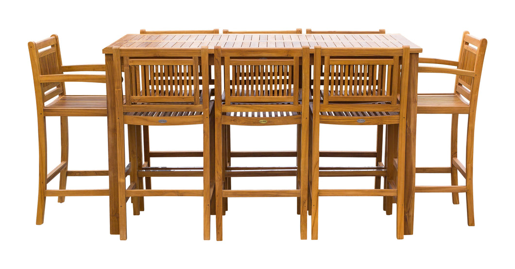 9 Piece Teak Wood Maldives Patio Bistro Bar Set, 71