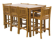 "9 Piece Teak Wood Maldives Patio Bistro Bar Set, 71"" Bar Table, 2 Barstools with Arms and 6 Armless Barstools - La Place USA Furniture Outlet"
