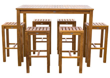 "7 Piece Teak Wood Santa Monica Patio Bistro Bar Set, 55"" Bar Table and 6 Barstools - La Place USA Furniture Outlet"