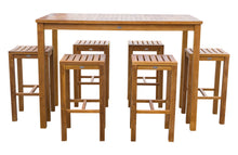 "7 Piece Teak Wood Santa Monica Patio Bistro Bar Set, 63"" Bar Table and 6 Barstools - La Place USA Furniture Outlet"
