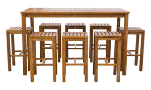 "9 Piece Teak Wood Santa Monica Patio Bistro Bar Set, 71"" Bar Table and 8 Barstools - La Place USA Furniture Outlet"