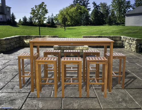 9 Piece Teak Wood Santa Monica Patio Bistro Bar Set, 71