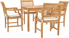 "5 Piece Teak Wood Florence Bistro Dining Set with 35"" Square Table and 4 Arm Chairs - La Place USA Furniture Outlet"