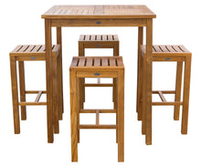 "5 Piece Teak Wood Havana Patio Bar Set with 35"" Table & 4 Barstools - La Place USA Furniture Outlet"