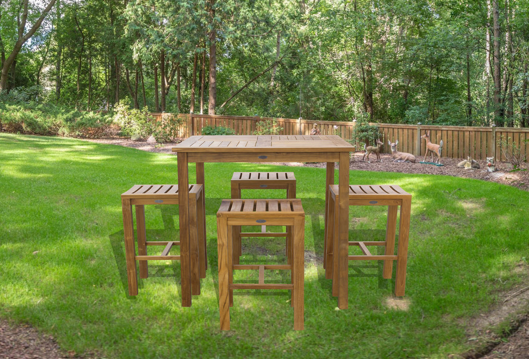 5 Piece Teak Wood Havana Patio Bar Set with 35