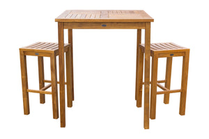 "3 Piece Teak Wood Havana Patio Bistro Bar Set with 35"" Table & 2 Barstools - La Place USA Furniture Outlet"