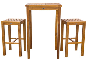 "3 Piece Teak Wood Havana Small Patio Bistro Bar Set with 27"" Square Table & 2 Barstools - La Place USA Furniture Outlet"