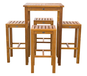 "5 Piece Teak Wood Havana Small Patio Bistro Bar Set with 27"" Square Table and 4 Barstools - La Place USA Furniture Outlet"