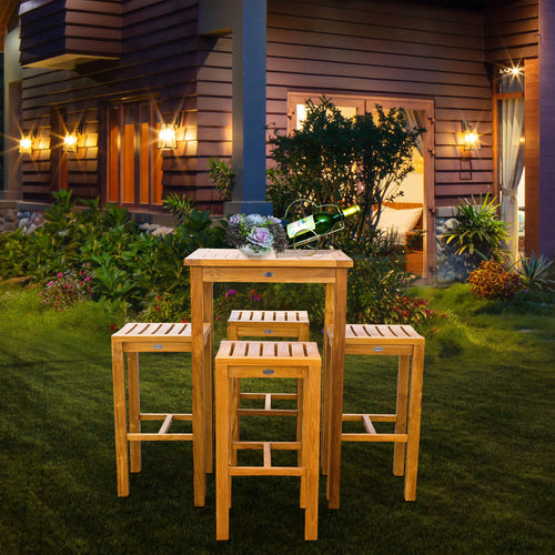 5 Piece Teak Wood Havana Small Patio Bistro Bar Set with 27