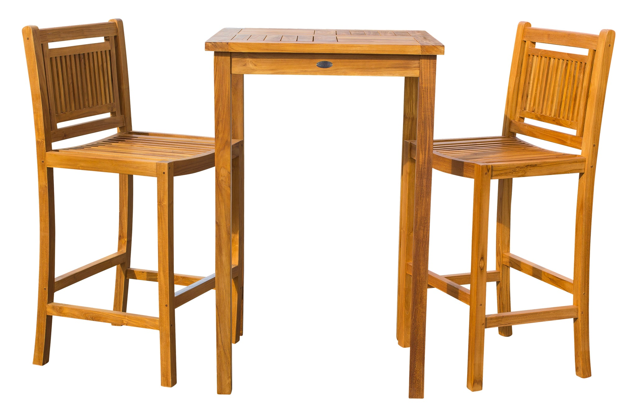 3 Piece Teak Wood Maldives Small Patio Bistro Bar Set With