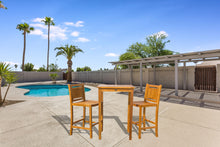 "3 Piece Teak Wood Maldives Small Patio Bistro Bar Set with 27"" Square Bar Table & 2 Armless Bar Chairs - La Place USA Furniture Outlet"