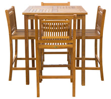 "5 Piece Teak Wood Maldives Patio Bistro Bar Set with 35"" Square Bar Table & 4 Armless Bar Chairs - La Place USA Furniture Outlet"