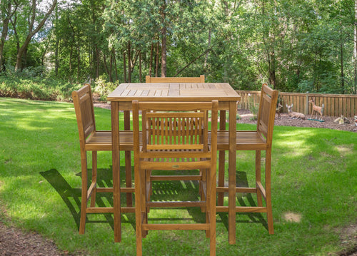 5 Piece Teak Wood Maldives Patio Bistro Bar Set with 35