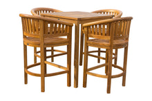 "5 Piece Teak Wood Peanut Patio Bistro Bar Set with 4 Bar Chairs and 35"" Bar Table - La Place USA Furniture Outlet"
