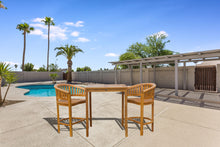 "3 Piece Teak Wood Peanut Patio Bistro Bar Set with 2 Bar Chairs and 35"" Bar Table - La Place USA Furniture Outlet"