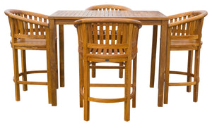 "5 Piece Teak Wood Peanut Patio Bistro Bar Set with 4 Bar Chairs and 55"" Bar Table - La Place USA Furniture Outlet"