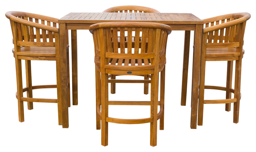 5 Piece Teak Wood Peanut Patio Bistro Bar Set with 4 Bar Chairs and 55