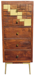 Montevideo Mango Wood Vertical Chest with 5 Drawers - La Place USA Furniture Outlet