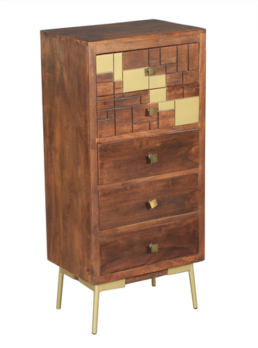 Montevideo Mango Wood Vertical Chest with 4 Drawers - La Place USA Furniture Outlet