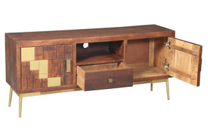 Montevideo Mango Wood Media Center - La Place USA Furniture Outlet
