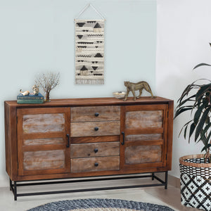 Muyal Mango Wood Sideboard with 4 Drawers and 2 Doors