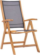 Teak Wood California Reclining Chair with Black Batyline Sling - La Place USA Furniture Outlet