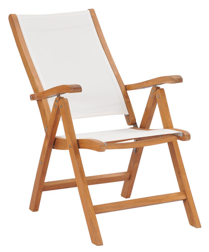 Teak Wood California Reclining Chair with White Batyline Sling - La Place USA Furniture Outlet