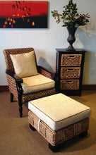 Water Hyacinth Rome Woven Ottoman with Cushion - La Place USA Furniture Outlet