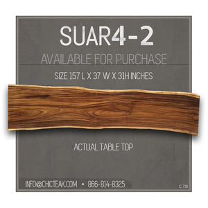 Suar Live Edge Single Slab Hardwood Dining Table/Conference Table, 157 L x 37 W in. - La Place USA Furniture Outlet