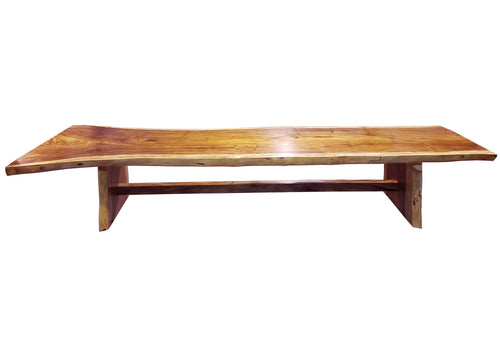 Suar Live Edge Solid Single Slab Hardwood Dining/Conference Table, 157 L x 32 W in. - La Place USA Furniture Outlet