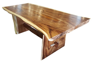 "Suar Live Edge Slab Dining Table - 71"" Long (choice of table tops) - La Place USA Furniture Outlet"