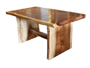 "Suar Live Edge Slab Dining Table - 59"" Long - La Place USA Furniture Outlet"