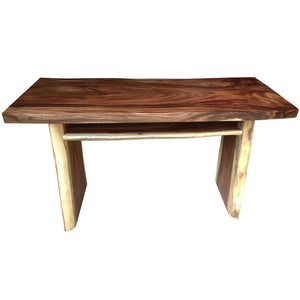 Suar Live Edge Slab Freestanding Bar with Shelf, 79 Inch - La Place USA Furniture Outlet