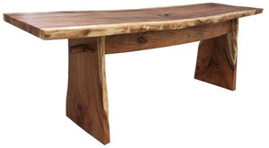 Suar Live Edge Slab Freestanding Bar with Shelf, 98 Inch - La Place USA Furniture Outlet