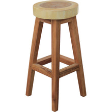 Suar Live Edge Round Barstool, 30 inch - La Place USA Furniture Outlet