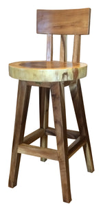 Suar Costa Mesa Live Edge Counter Stool - La Place USA Furniture Outlet
