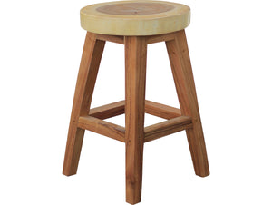 Suar Live Edge Round Counter Stool, 24 inch