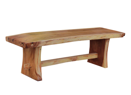 Suar Live Edge Slab Backless Bench approximately 59
