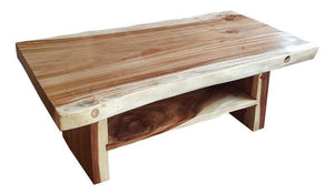 Suar Live Edge Slab Coffee Table With Shelf - La Place USA Furniture Outlet