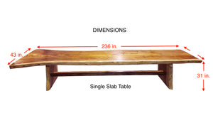 Suar Live Edge Single Slab Hardwood Dining Table/Conference Table, 236 L x 43 W in. - La Place USA Furniture Outlet