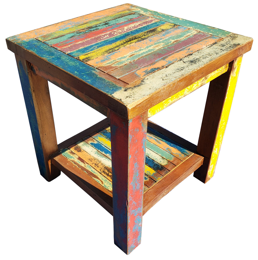 Marina Del Rey Recycled Teak Wood Boat Side Table - La Place USA Furniture Outlet