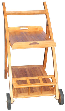 Teak Serving Trolley with Removable Shelf and 3 Bottle Holder