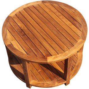 Teak Wood Bahama Round Coffee Table, 31 inch - La Place USA Furniture Outlet