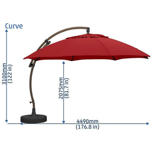 Sun Garden 13 Ft. Cantilever Umbrella or Parasol, the Original from Germany, Natural Color Canopy with Black Frame - La Place USA Furniture Outlet