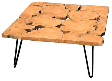 Teak Wood Square Coffee Table with Iron Legs - La Place USA Furniture Outlet